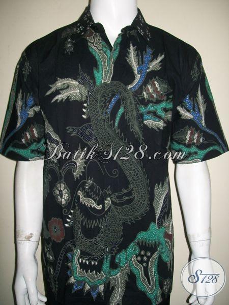 Baju Batik Tulis Warna Dasar Hitam Bermotif Naga Keren