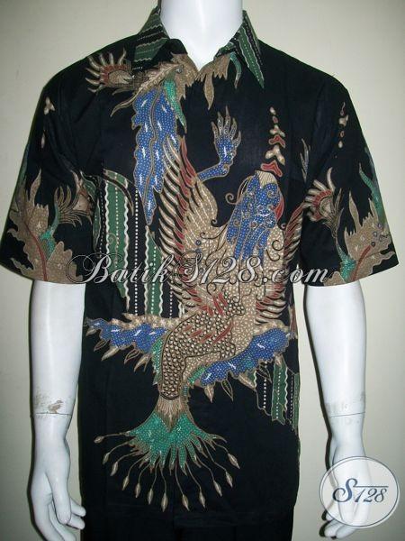 Kemeja Batik Unik Abstrak Modern Kontemporer Lengan Pendek Warna Hitam [LD1370T-XL]