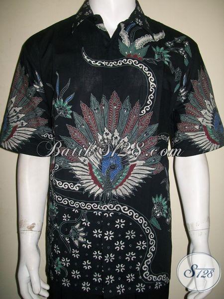 Hem Batik Tulis Motif Burung Merak Warna Hitam Keren Dan Elegan [LD1373T-XL]