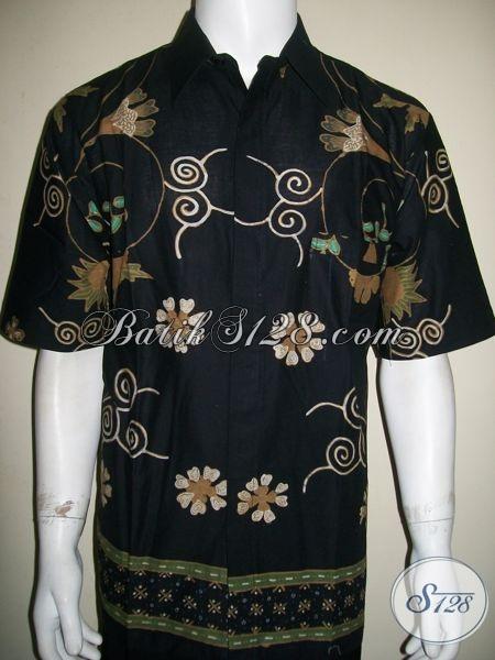 Kemeja Batik Modern Pria Bagus Warna Hitam Untuk Eksekutif Muda, Dosen, Dan Pejabat Perusahaan [LD1374T-XL]