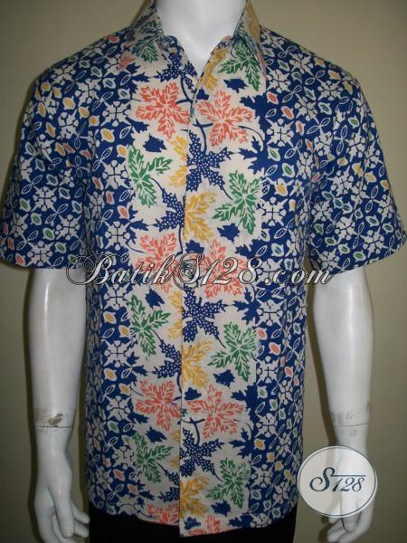 Hem Batik Lengan Pendek Dua Motif Untuk Pria Karir, Baju Batik Resmi Motif Unik Harga Terjangkau, Size L