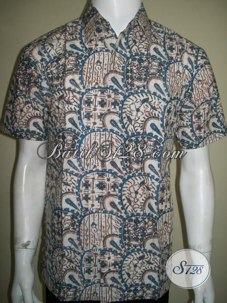 Toko Batik Pria Modern, Jual Kemeja Batik Lengan Pendek Untuk Kerja Dengan Motif Unik Tren Terkini, Size M