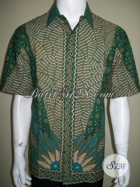 Batik Tulis Pria Warna Hijau Untuk Anak Muda Trendy Dan Gaul [LD1404T-L]