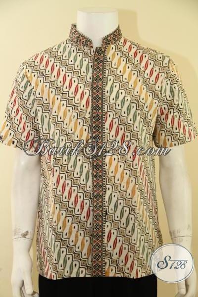 Busana Batik Solo Lengan Pendek Kemeja Batik Dengan Krah Koko