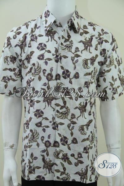 pakaian batik pria warna dasar putih batik kombinasi tulis