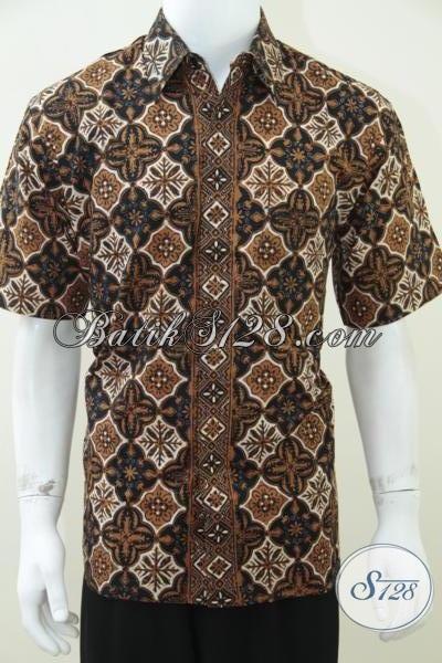 Kemeja Batik Pria Koleksi 2014, Baju Batik Lengan Pendek Klasik Modern Mewah Berkelas, Size L