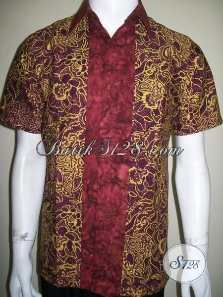 Kemeja Batik Kombinasi Tumpal Depan Elegan Untuk Pria Dewasa