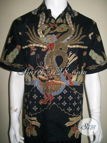 Baju Batik Motif Naga Warna Hitam, Garang, Untuk Laki-Laki Berkarakter ...