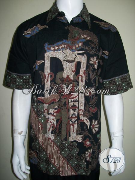 Baju Batik Pria Motif Wayang Abimanyu Putra Arjuna Ukuran XL [LD1545T-XL]