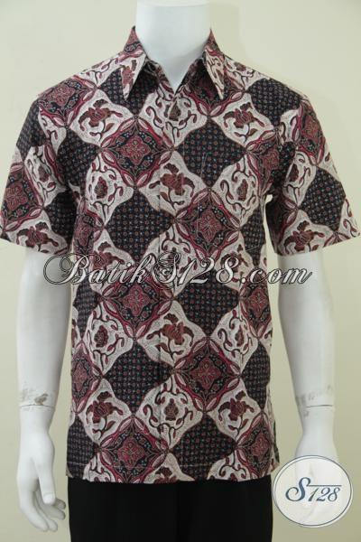 Hem Batik Solo Halus Murah Nyaman Dipakai, Baju Batik Resmi Lengan Pendek Untuk Laki-Laki Aktif, Size XL