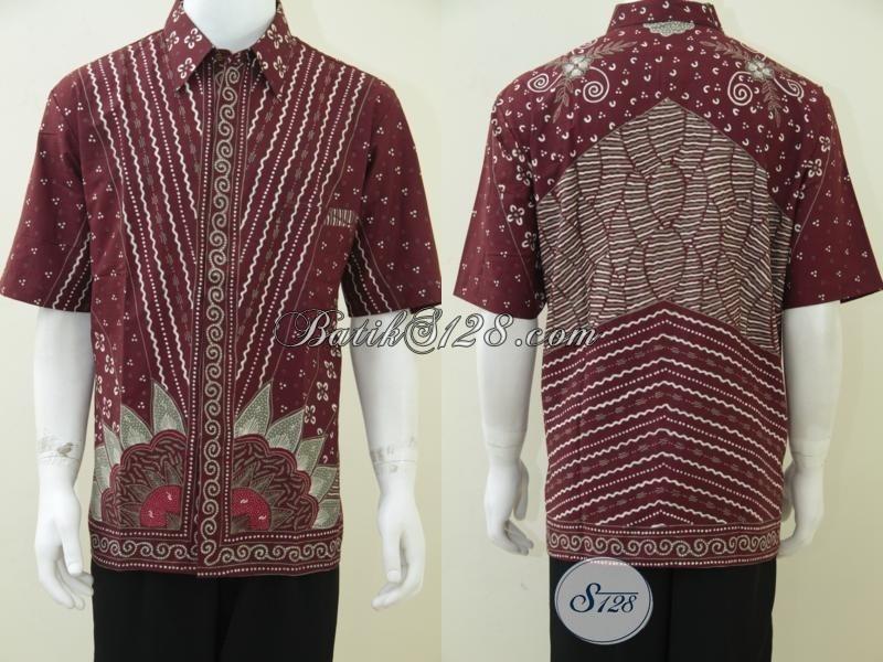 Jual baju batik tulis pria warna merah marun untuk kado Jual baju gamis untuk pria