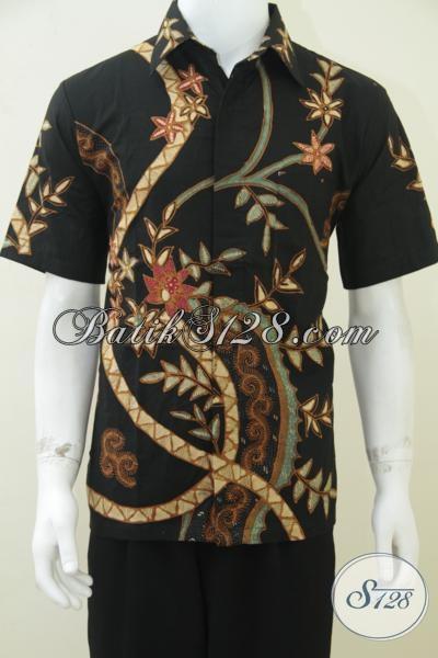 Baju Batik Pria Lengan Pendek Warna Hitam Elegan Untuk