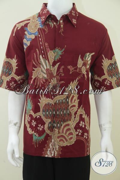 Baju Batik Pria Warna Merah Batik Tulis Halus Berkelas