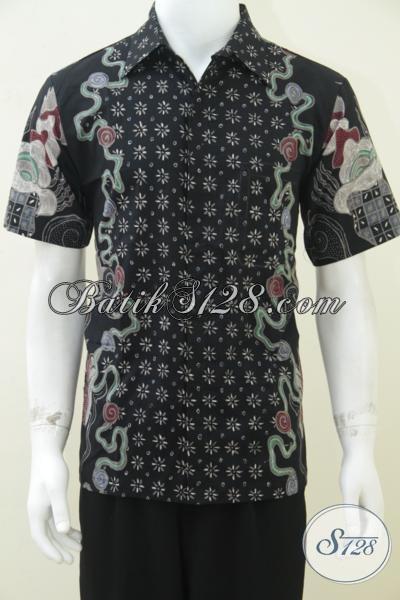Batik Pria Modern Eksklusif Warna Hitam Lengan Pendek, Bagus Dan Keren [LD1628T-M]