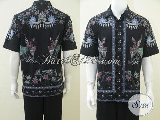 Kemeja Batik Tulis Pria Tampan, Busana Batik Model Unik Motif Klasik Modern Lengan Pendek, Size L