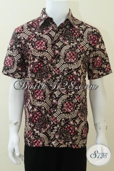 Busana Batik  Istimewa Untuk Pria Muda, Baju Batik Lengan Pendek Ukuran M Motif Gradasi Keren Bro