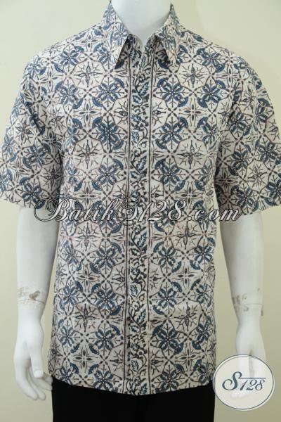 Busana Batik Pewarna Alam Indigo, Batik Pria Muda Motif Bagus Berpadu Warna Dasar Putih Terlihat Mewah, Size XL