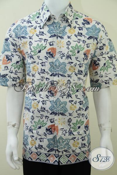 Hem Batik Cap Buatan Solo, Batik Pria Muda Warna Dasar Putih Cerah Motif Bagus Meningkatkan Kualitas Penampilan Laki-Laki Sejati, Size XL