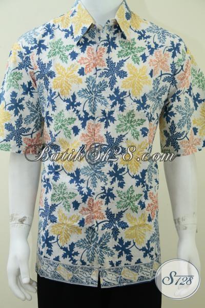 Jual Kemeja Batik Pria Motif Terbaru, Hem Batik Dasar Putif Berpadu Motif Daun Pepaya Modis Dan Trendy, Size XL