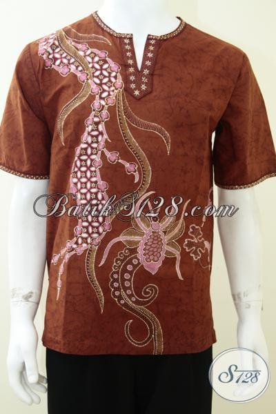 Koleksi Terbaru Baju Batik Tulis Modern, Busana Batik Koko Untuk Lebaran Modis Dan Trendy, Size M