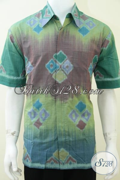 Tenun Pria Warna Hijau Keren Baju Tenun Modern Anak Muda