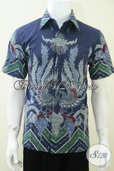 Batik Tulis Untuk Laki-Laki Warna Biru Ukuran S Motif Burung Hog/Phoenix/Plagrak [LD1746T-S]