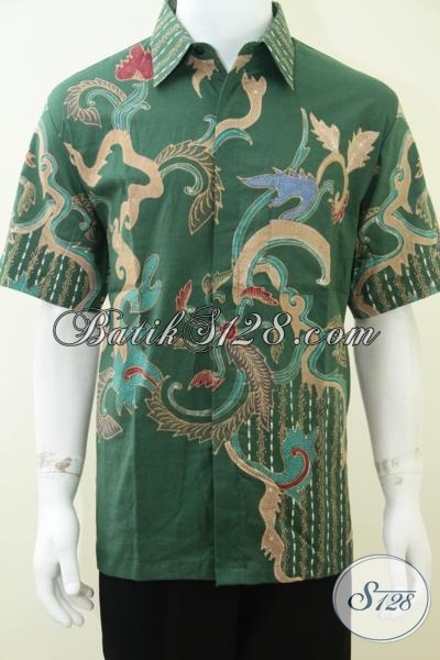 Kemeja Batik Warna Hijau Keren Motif Modern Bagus [LD1748T-L]