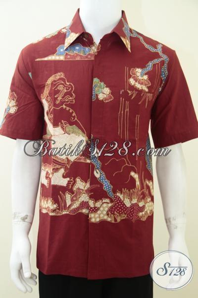Jual Batik Wayang Motif Semar Warna Merah [LD1753T-L]