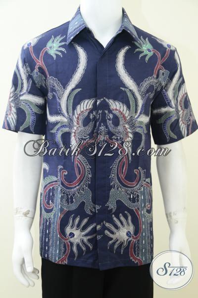 Hem Batik Pria Warna Biru Motif Modern Bagus Dan Elegan [LD1762T-L]