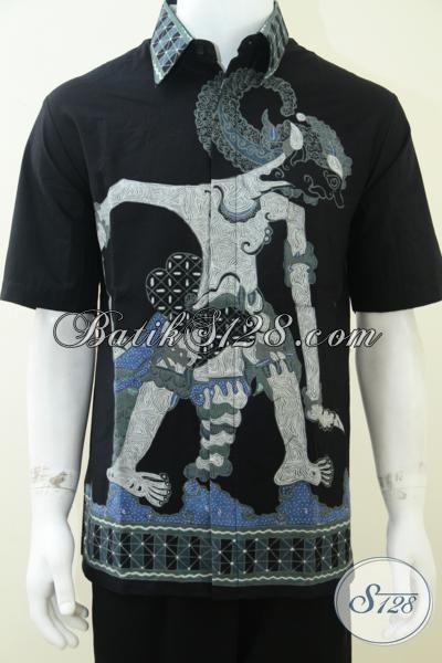 Baju Batik Wayang Pria Motif Bima Lengan Pendek, Batik Tulis Wayang Asli Solo [LD1763T-L]