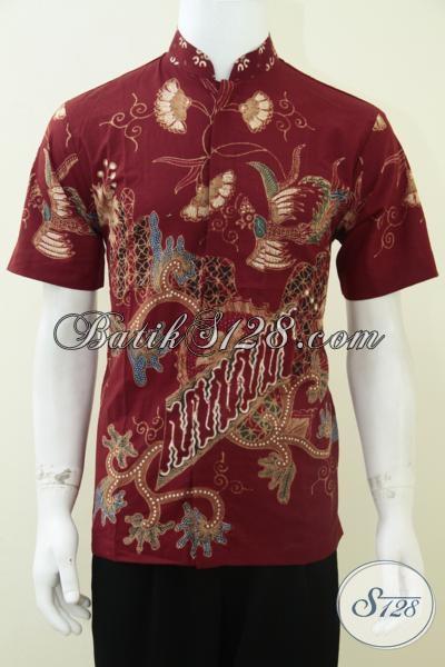 Busana Batik Kerah Shanghai Baju Koko Batik Pria Warna
