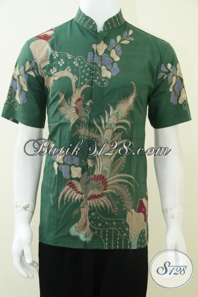 Baju Batik Pria Kerah Koko Shanghai Warna Hijau Bagus Dan