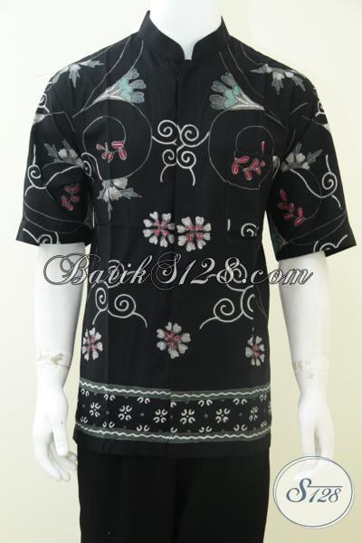 Baju Batik Pria Kerah Shanghai Koko Warna Hitam Ld1794tk