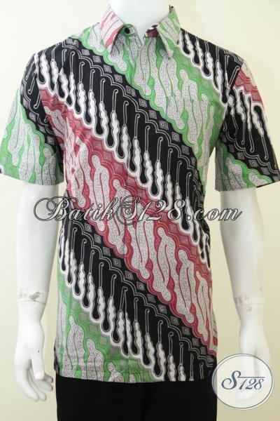 Baju Batik Klasik Modern Harga Murah, Kemeja Batik Lengan Pendek Pria Muda Modern Tampil Modis, Size L