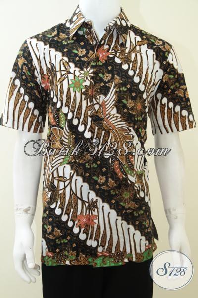 Baju Batik Lelaki Motif Burung Dan Parang Lengan Pendek Bagus [LD1877P-L]