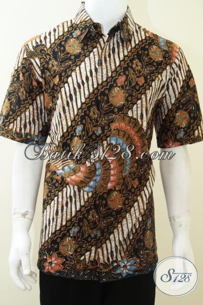 Kemeja Batik Murah Lengan Pendek Ukuran XL, Motif Klasik Modern [LD1881P-XL]