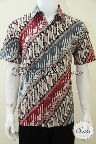 Kemeja Batik Pria Bagus Banget Motif Klasik Parang Warna Elegan Soft Kalem [LD1894CT-M]