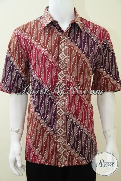 Busana Batik Solo Motif Tren Terkini, Baju Batik Lengan Pendek Warna Baru Cocok Untuk Karyawan Dan Pengusaha Muda, Size XL