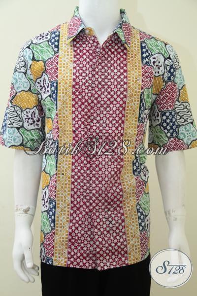 Hem Batik Warna Cerah Laki-Laki Motif Klasik Sekar Jagad Truntum [LD1903C-XL]