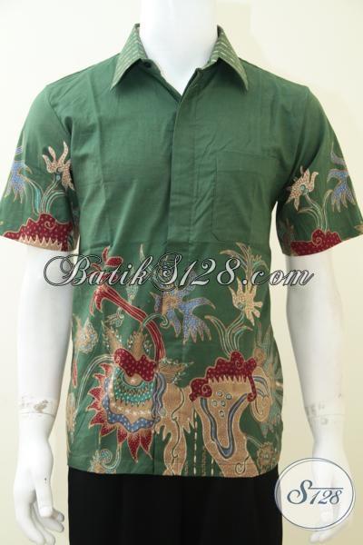 Kemeja Batik Tulis Pria Warna Hijau Dengan Motif Keren Modern Harga 68c5d69b73