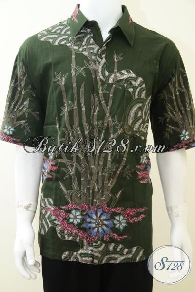 Baju Batik Tulis Warna Hijau Lengan Pendek Motif Tunas Bambu, Kemeja Batik Fashion Tren Mode Masa Kini, Size XL