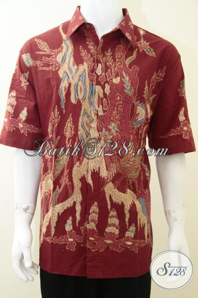 Busana Batik Tulis Motif Terkini, Baju Batik Warna Merah Lengan Pendek Dengan Ukuran Khusus XXL (3L) Untuk Orang Gemuk Tetap Tampil Trendy