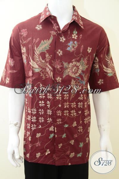 Baju Batik Merah Pria Berbadan Gemuk Besar Ukuran Xxl