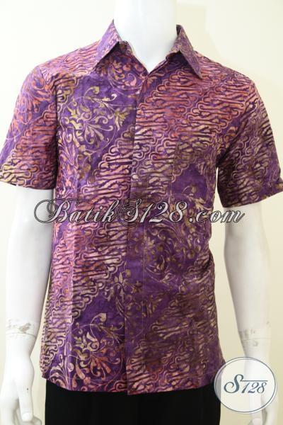Kemeja Batik Lengan Pendek Terbaru Untuk Pria Muda, Hem Batik Modern Trendy Harga Murah, Size M