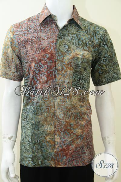 Kemeja Batik Solo Keren Motif Dan Warna Unik, Hem Batik Tren Mode Masa Kini Untuk Pria Dewasa, Size M