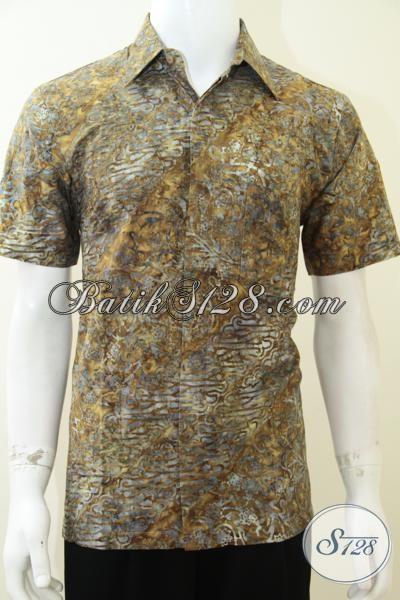 Busana Batik Bagus Bahan Halus Harga Terjangkau, Kemeja Batik Solo Lengan Pendek Untuk Pria Tampil Lebih Percaya Diri, Size M