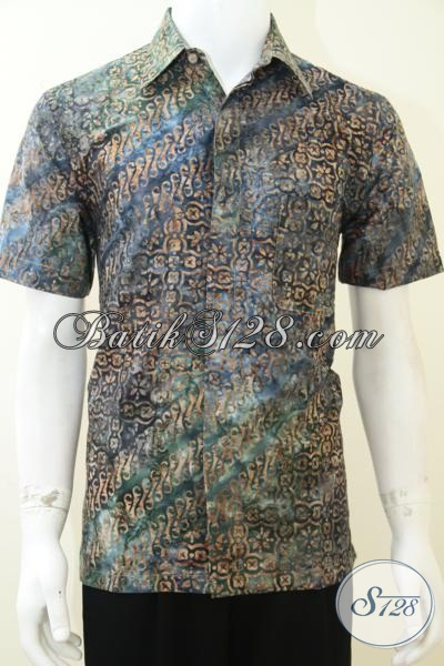 Baju Batik Lengan Pendek Murah Membuat Pria Tampil Menawan, Batik Cap Dengan Pewarnaan Smoke, Size M