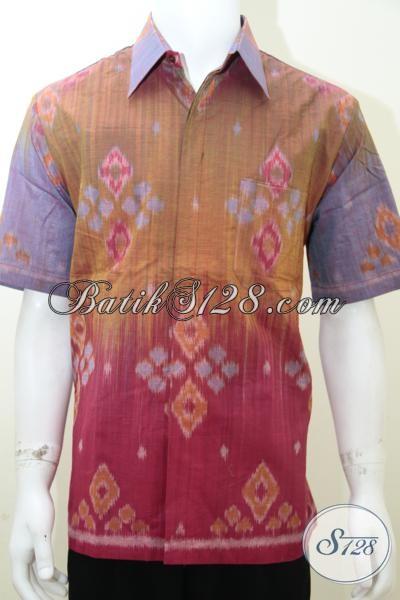 Distro Busana Tenun Online Terpercaya, Sedia Hem tenun  Asli Model Lengan Panjang Warna Cerah Fashionable, Size L