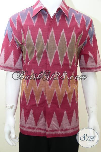 Toko Baju Kemeja Tenun Online, Jual Baju Tenun Ikat Warna Cerah Untuk Resmi Dan Acara Santai, Size XL