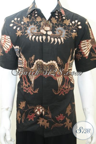 Baju Batik Pria Online Lengan Pendek Warna Hitam Gagah